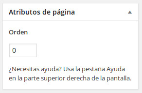 Atributos de página en WordPress