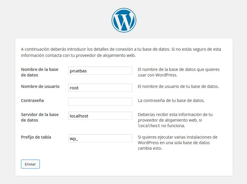 Datos de instalación de WordPress