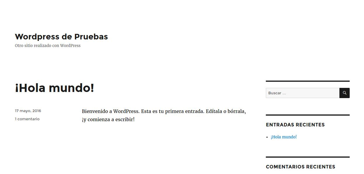 Parte front de wordpress