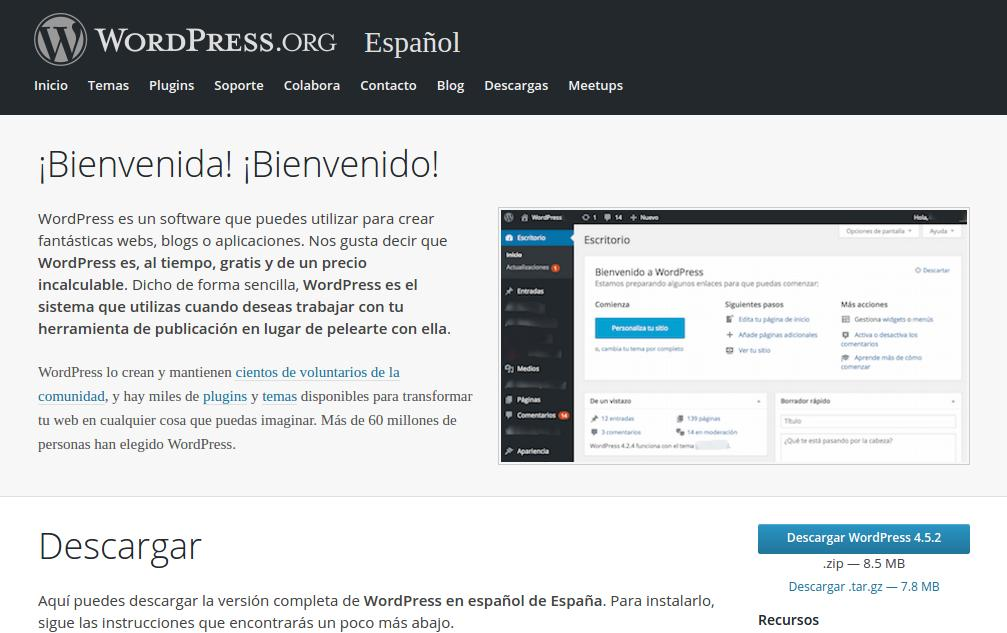web principal de wordpress