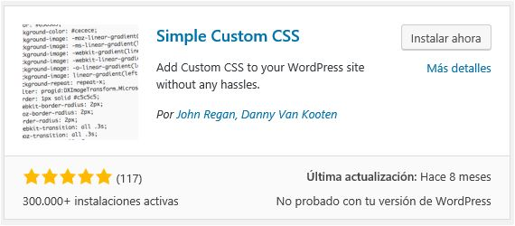 Instalar Simple Custom CSS