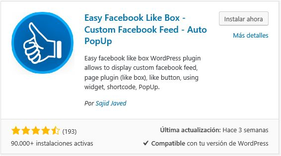 instalar easy facebook likebox