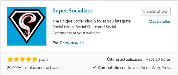 Descargar y activar super socializer