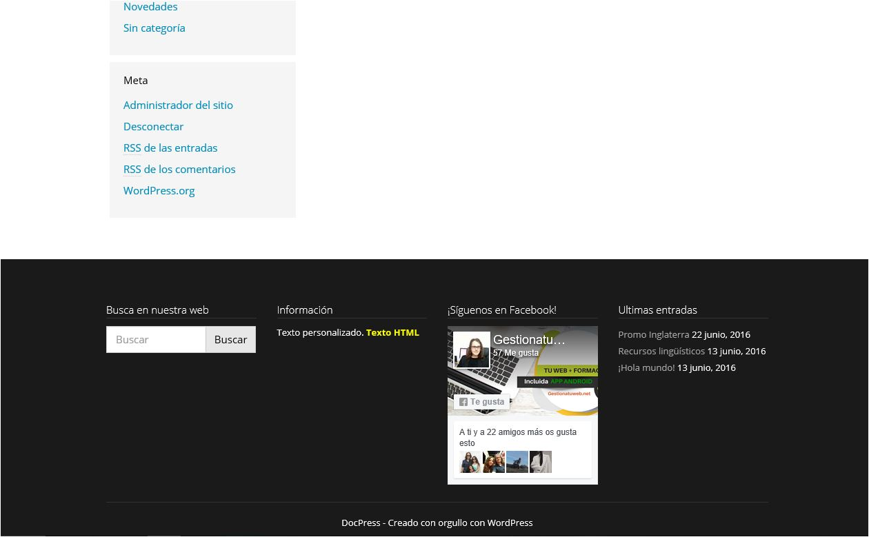 widget en el footer