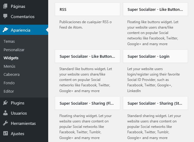 widgets super socializer