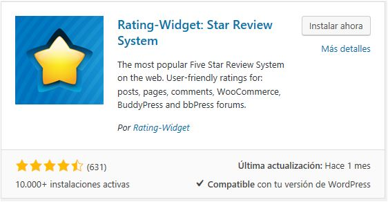 Instalar Rating-Widget: Star Review System