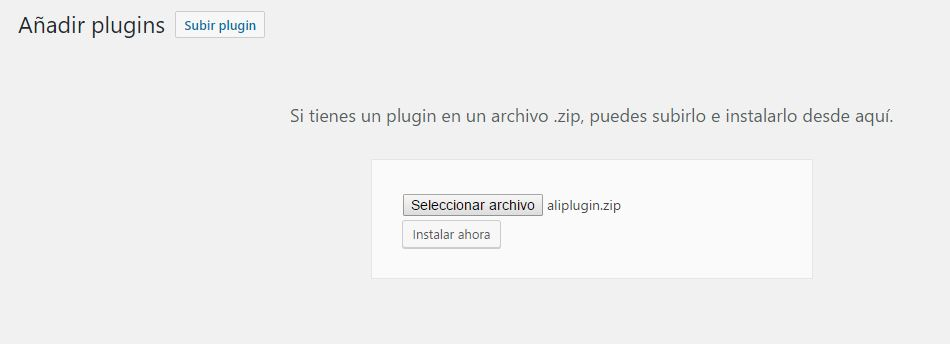 Instalar el plugin en wordpress