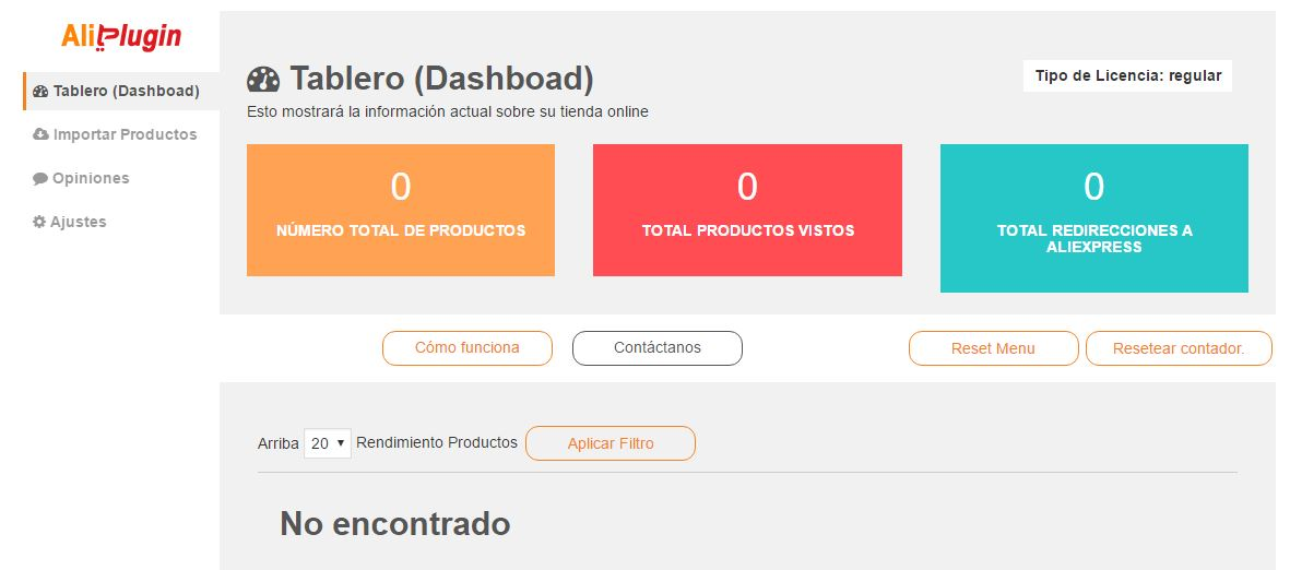 Panel principal (dashboard) de Aliplugin