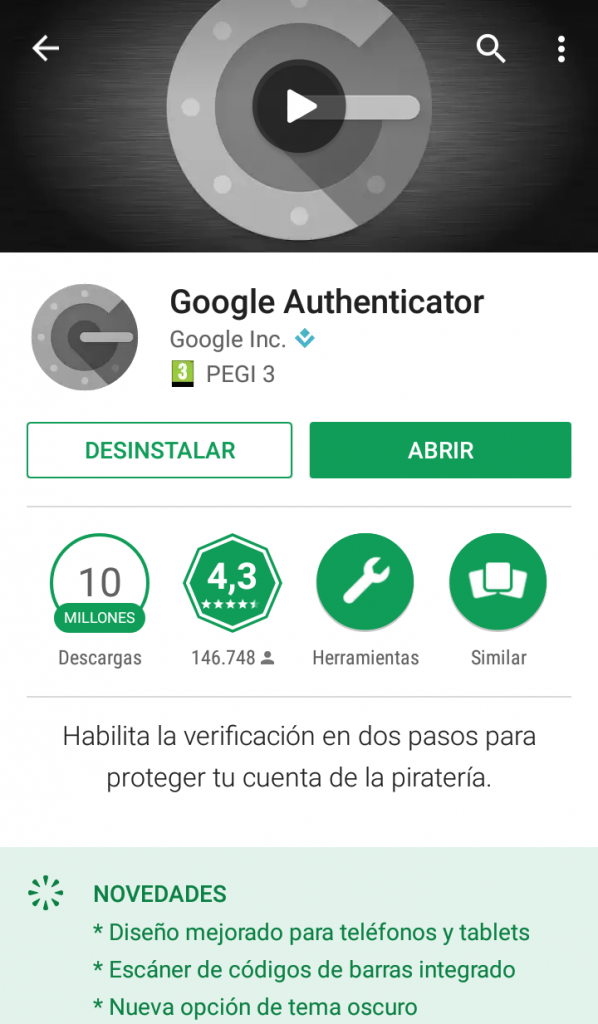 google authenticator desde google play store