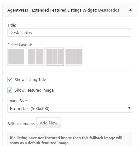 opciones de visualización de agentpress featured listings